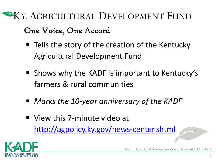 Ky. Agricultural Development Fund
