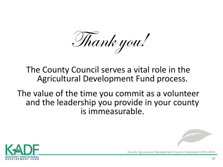 County Agricultural Development Council Orientation 2014-2016