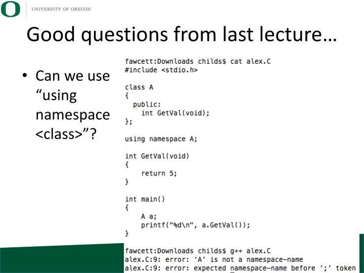 Good questions from last lecture…