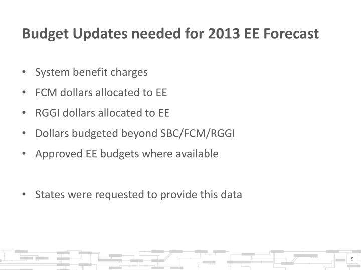 Budget Updates needed for 2013 EE Forecast
