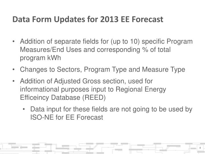 Data Form Updates for 2013 EE Forecast