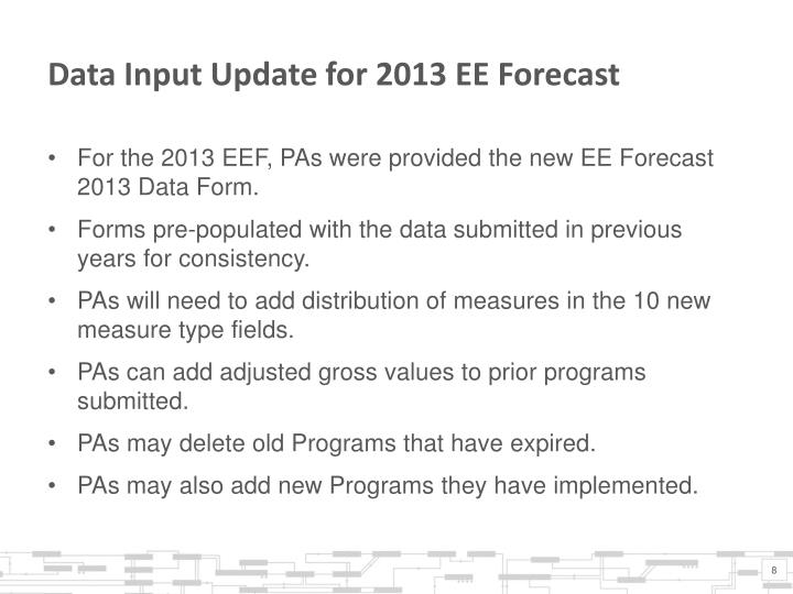 Data Input Update for 2013 EE Forecast