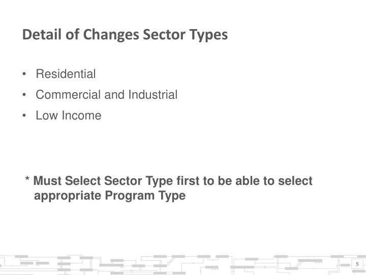 Detail of Changes Sector Types