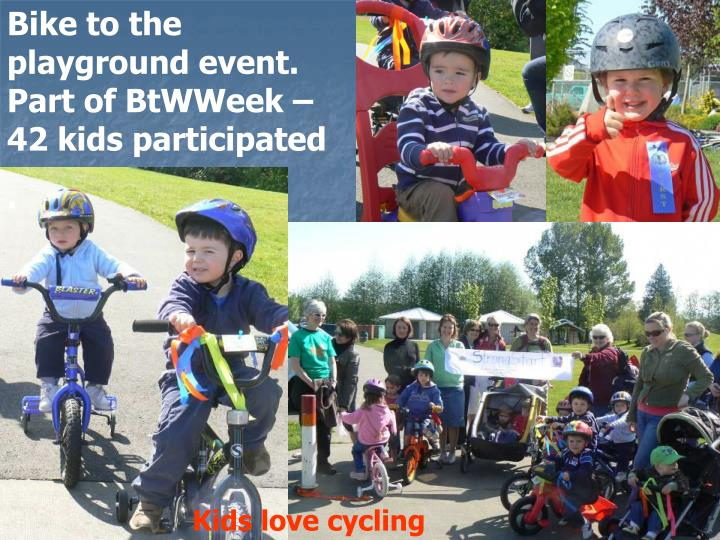 Bike to the playground event. Part of BtWWeek – 42 kids participated