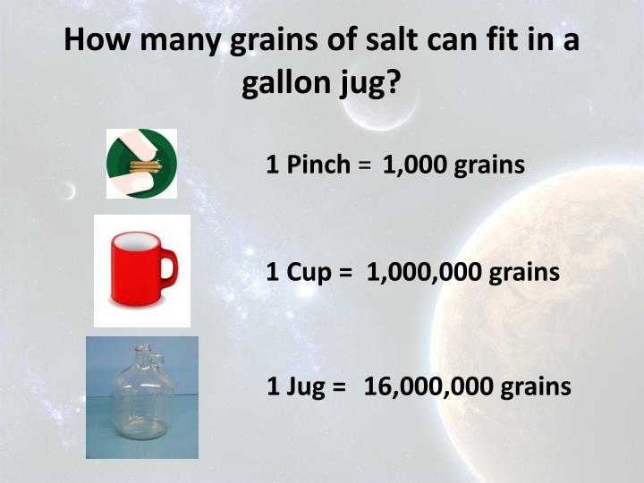 How many grains of salt can fit in a gallon jug?