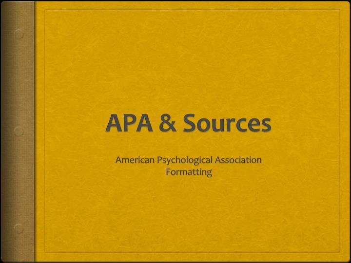 APA & Sources