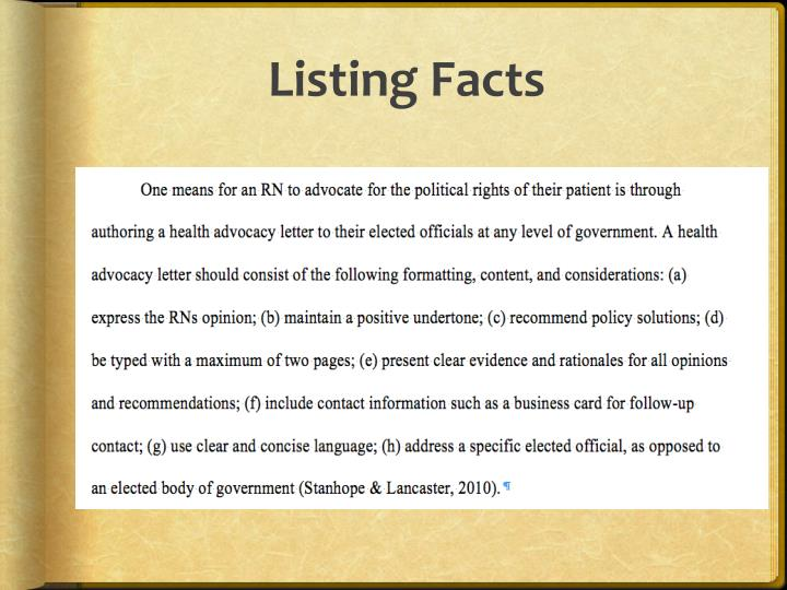 Listing Facts