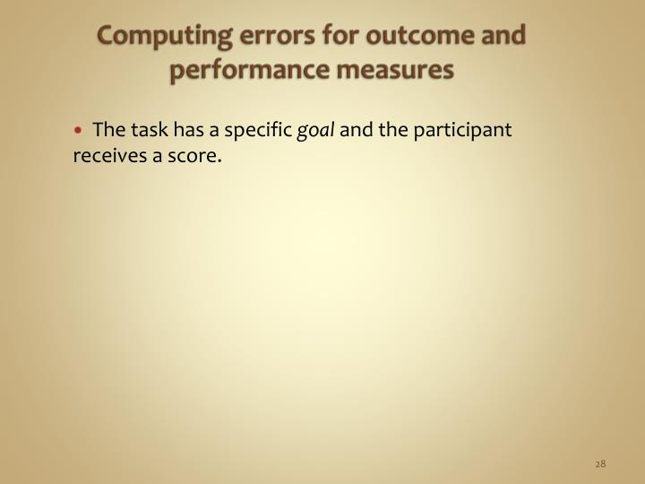 Computing errors for outcome and performance measures