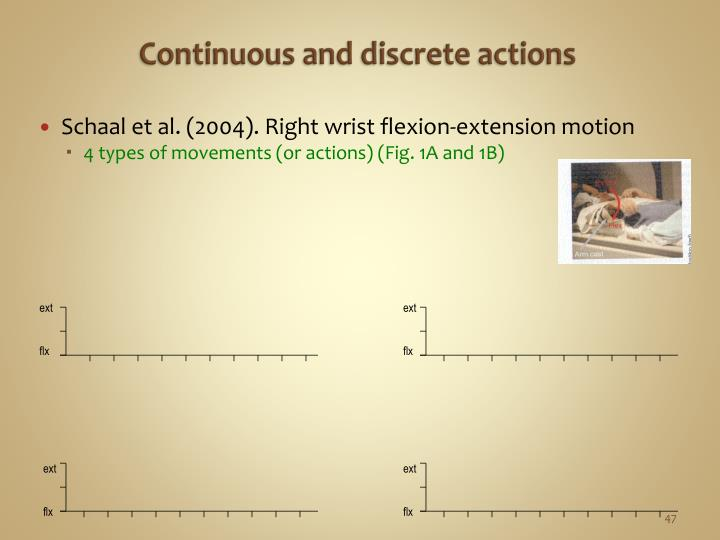 Continuous and discrete actions