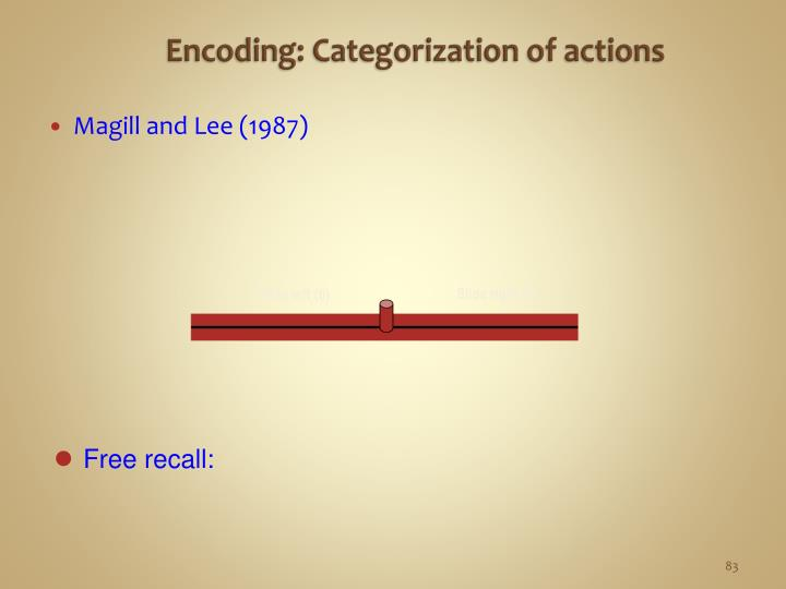Encoding: Categorization of actions