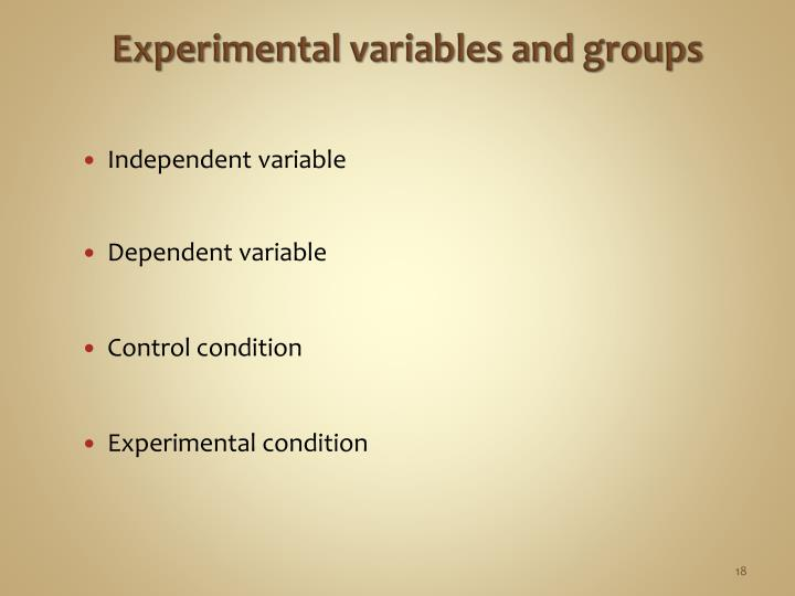 Experimental variables and groups