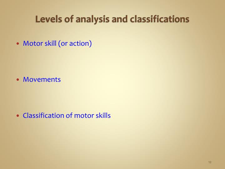 Levels of analysis and classifications