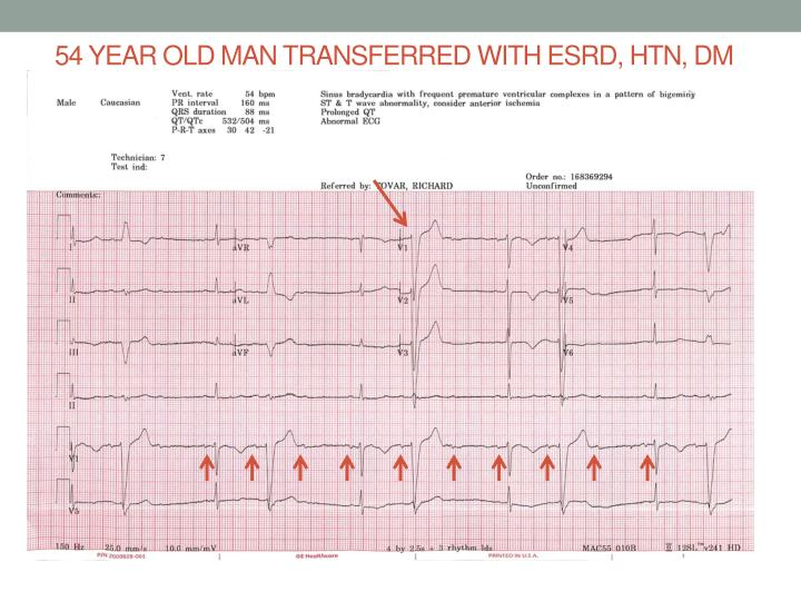 54 year old man transferred with ESRD, HTN, DM and fluid overload