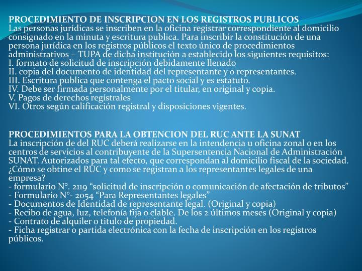 PROCEDIMIENTO DE INSCRIPCION EN LOS REGISTROS PUBLICOS
