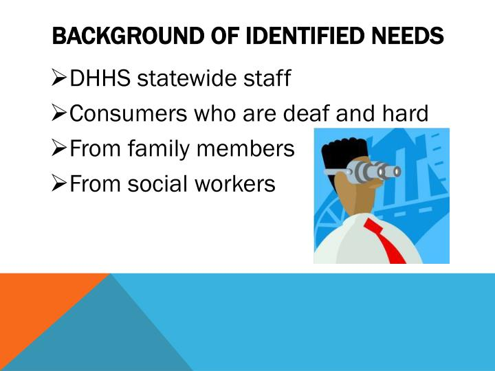 Background of identified needs