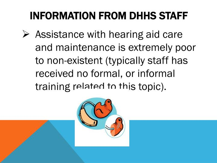 Information from dhhs staff
