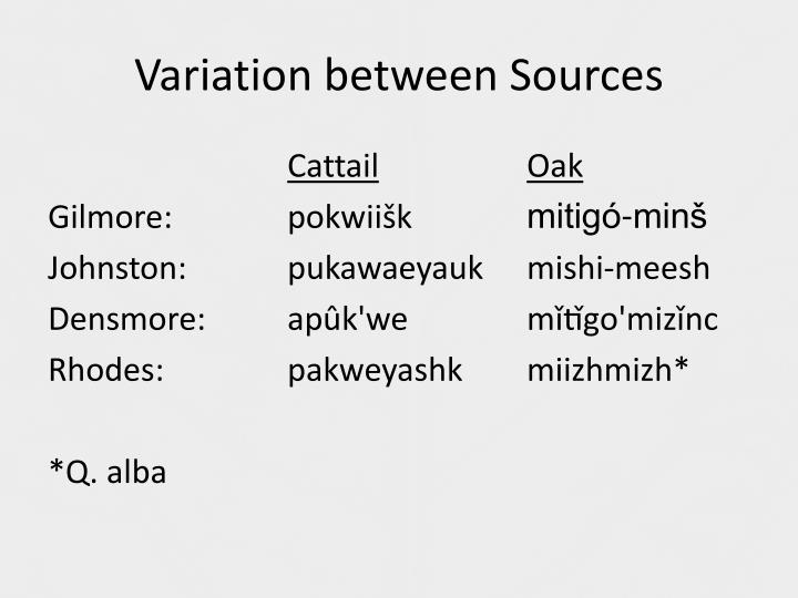 Variation between Sources