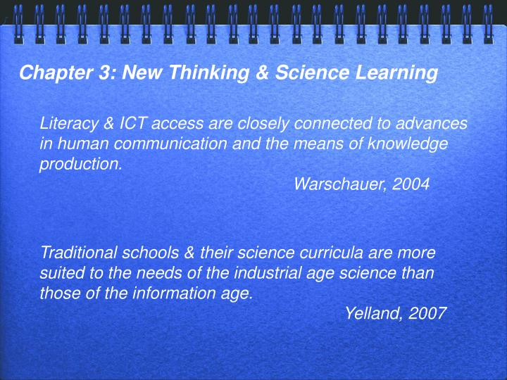Chapter 3: New Thinking & Science Learning
