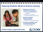 preparing students minds on science learning