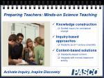 preparing teachers minds on science teaching