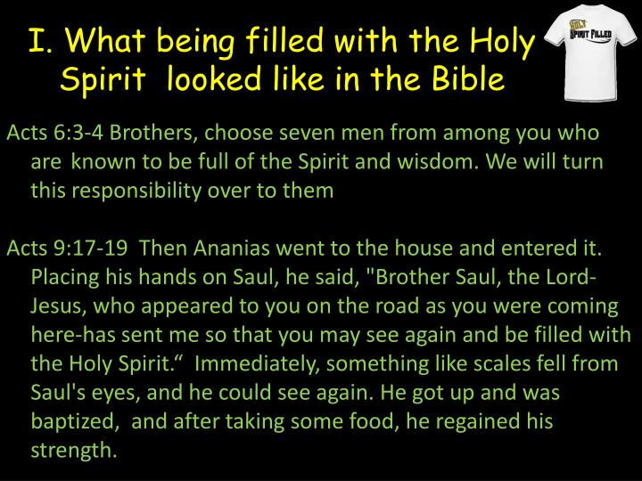 I. What being filled with the Holy Spirit  looked like in the Bible