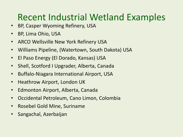 Recent Industrial Wetland Examples