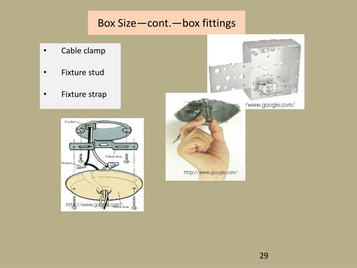 Box Size—cont.—box fittings