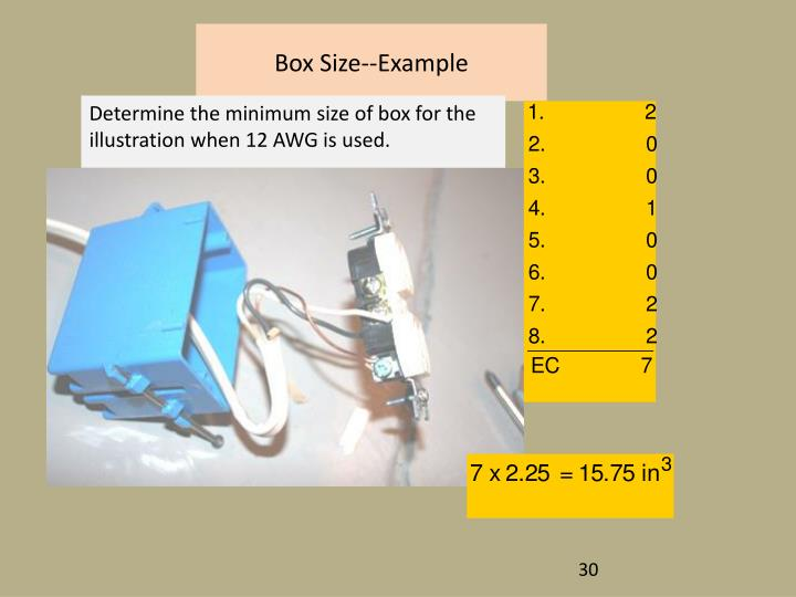 Box Size--Example
