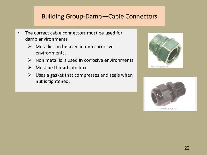 Building Group-Damp—Cable Connectors