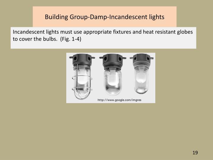 Building Group-Damp-Incandescent lights