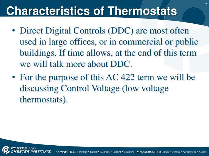 Characteristics of Thermostats