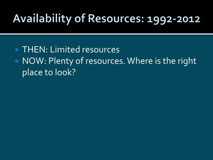 Availability of Resources: 1992-2012
