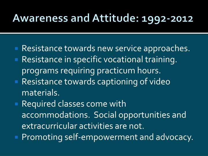 Awareness and Attitude: 1992-2012