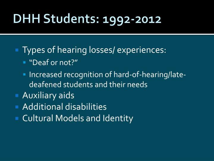 DHH Students: 1992-2012