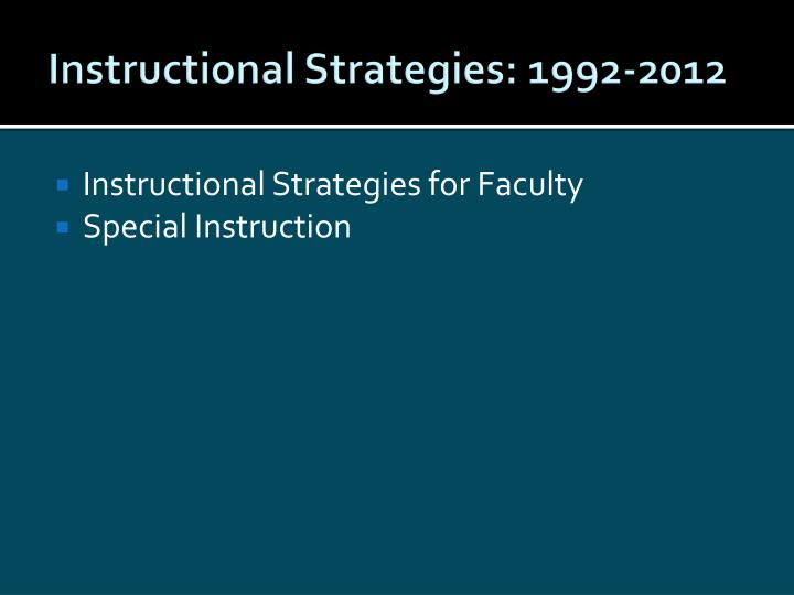 Instructional Strategies: 1992-2012