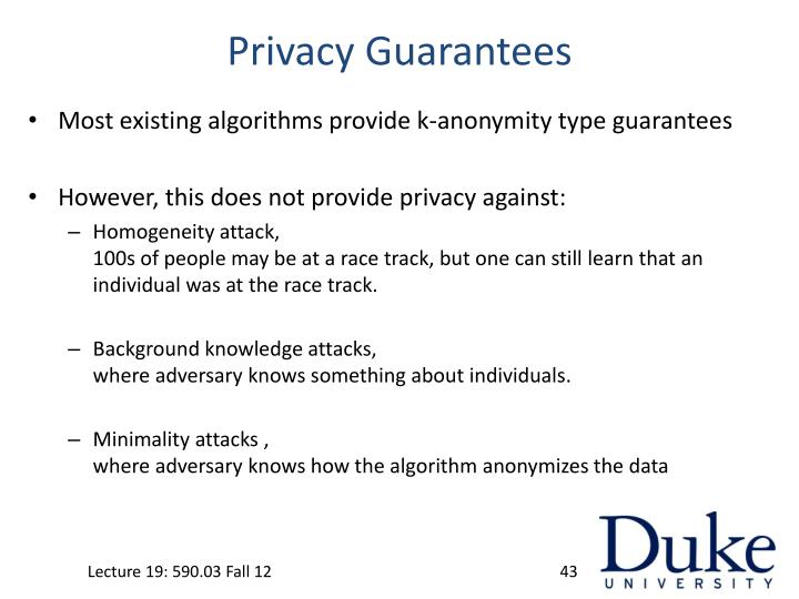 Privacy Guarantees