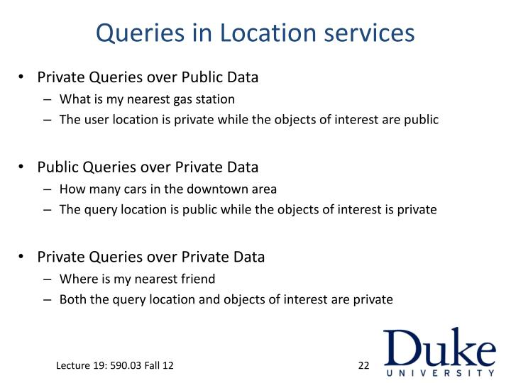 Queries in Location services