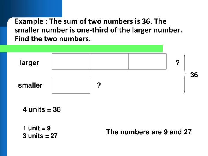 Example : The sum of two numbers is 36. The smaller number is one-third of the larger number. Find the two numbers.