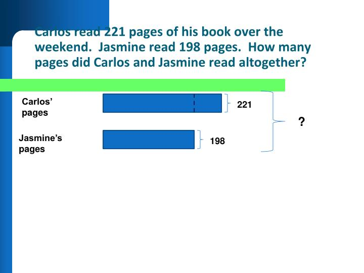 Carlos read 221 pages of his book over the weekend.  Jasmine read 198 pages.  How many pages did Carlos and Jasmine read altogether?