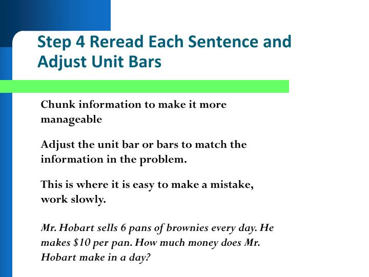 Step 4 Reread Each Sentence and Adjust Unit Bars