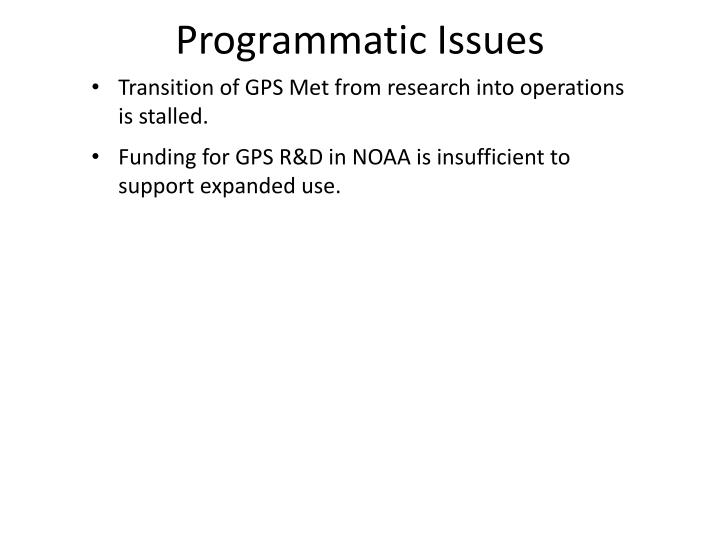 Programmatic Issues