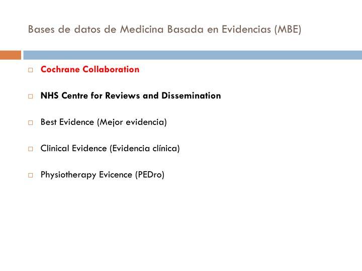 Bases de datos de Medicina Basada en Evidencias (MBE)