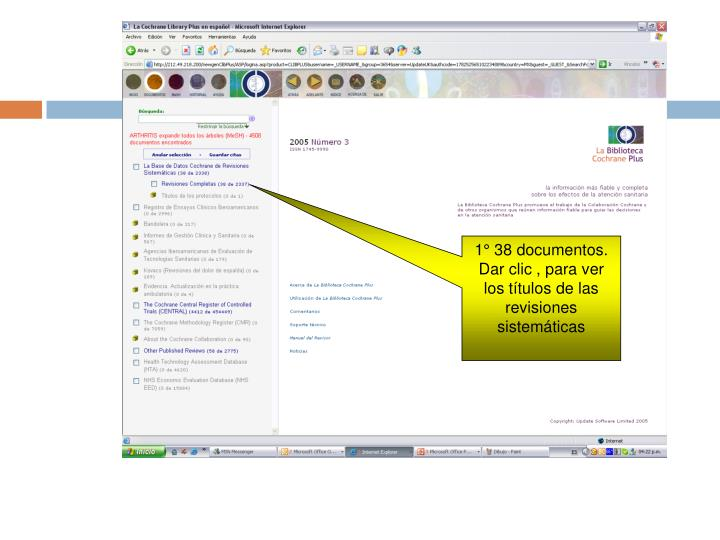 1° 38 documentos. Dar clic , para ver los títulos de las revisiones sistemáticas