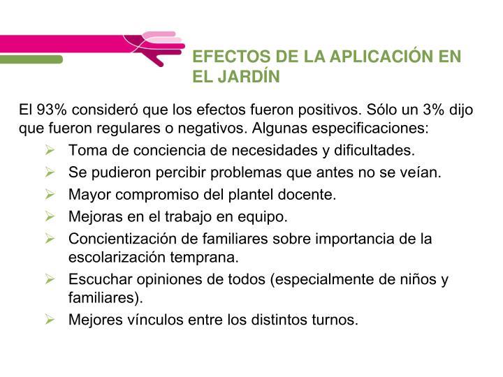 EFECTOS DE LA APLICACIÓN EN EL JARDÍN