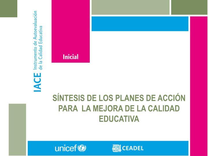SÍNTESIS DE LOS PLANES DE ACCIÓN PARA  LA MEJORA DE LA CALIDAD EDUCATIVA