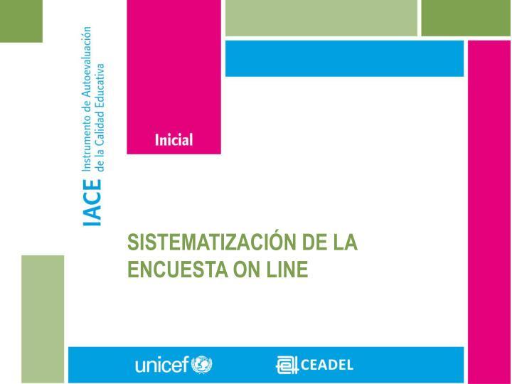 SISTEMATIZACIÓN DE LA ENCUESTA ON LINE