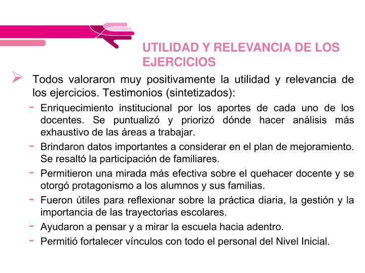 UTILIDAD Y RELEVANCIA DE LOS EJERCICIOS
