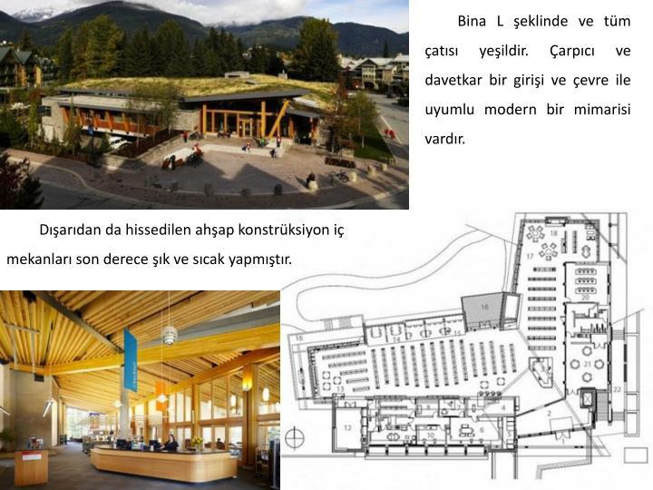 Bina L şeklinde ve tüm çatısı yeşildir. Çarpıcı ve davetkar bir girişi ve çevre ile uyumlu modern bir mimarisi vardır.