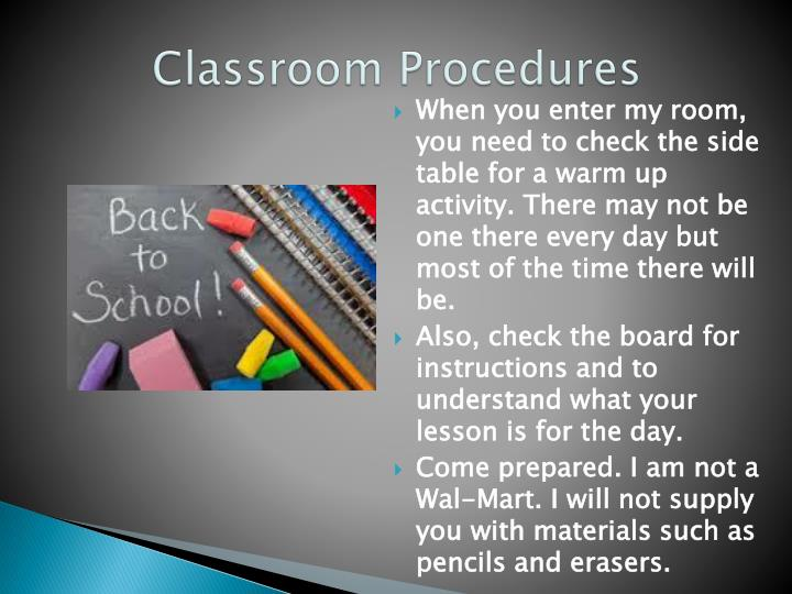 Classroom Procedures