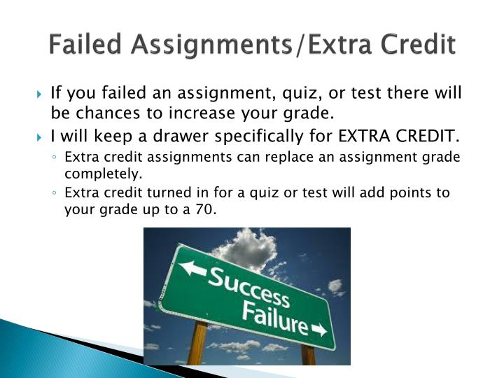 Failed Assignments/Extra Credit